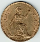 George VI, One Penny 1947, AUNC, M9002